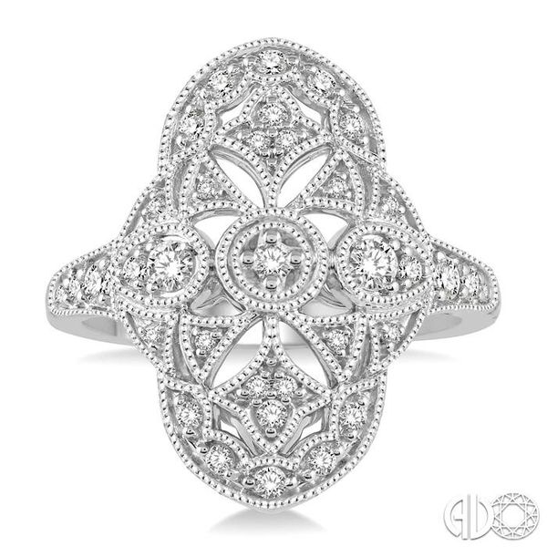 1/2 Ctw Ornamental Round Cut Diamond Ladies Ring in 14K White Gold Image 2 Coughlin Jewelers St. Clair, MI
