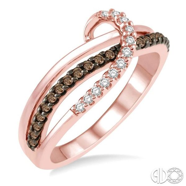 1/4 Ctw Triple Cut Shank Clear and Brown Diamond Ladies Ring in 10K Rose Gold Coughlin Jewelers St. Clair, MI