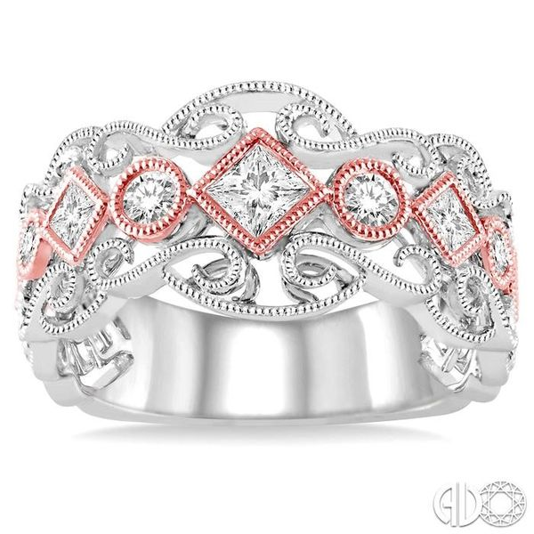 1/2 Ctw Round and Princess Cut Diamond Fashion Band in 14K White and Rose Gold Image 2 Coughlin Jewelers St. Clair, MI