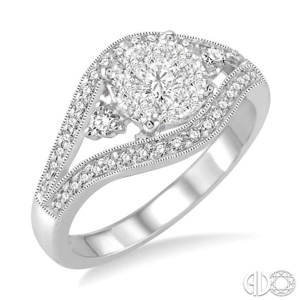 5/8 Ctw Round Cut Diamond Lovebright Ring in 14K White Gold Coughlin Jewelers St. Clair, MI