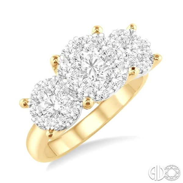 1 1/2 Ctw Lovebright Round Cut Diamond Ring in 14K Yellow and White Gold Coughlin Jewelers St. Clair, MI