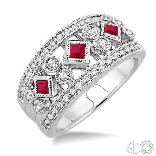 3/8 Ctw Round Cut Diamond and 2.2mm & 2.4mm Princess Cut Ruby Fashion Band in 14K White Gold Coughlin Jewelers St. Clair, MI