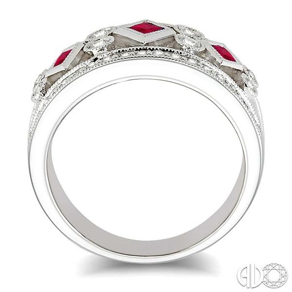 3/8 Ctw Round Cut Diamond and 2.2mm & 2.4mm Princess Cut Ruby Fashion Band in 14K White Gold Image 3 Coughlin Jewelers St. Clair, MI