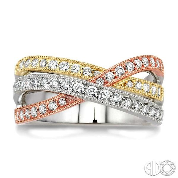 1/2 Ctw Round Cut Diamond Fashion Band 14K Tri Color Gold Image 2 Coughlin Jewelers St. Clair, MI