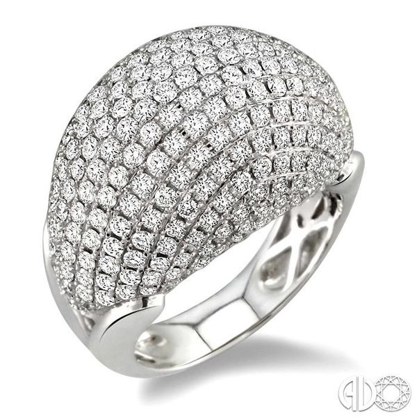 3 Ctw Dome Shape Round Cut Diamond Ring in 18K White Gold Coughlin Jewelers St. Clair, MI
