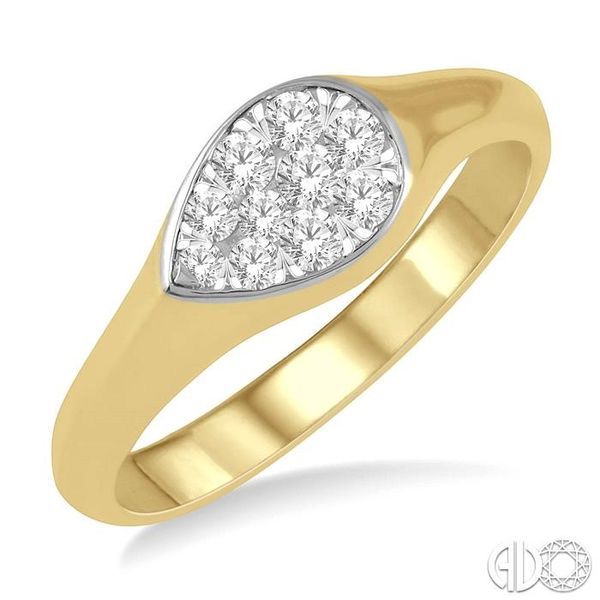 1/4 ctw Pear Shape Lovebright Diamond Ring in 14K Yellow and White Gold Coughlin Jewelers St. Clair, MI