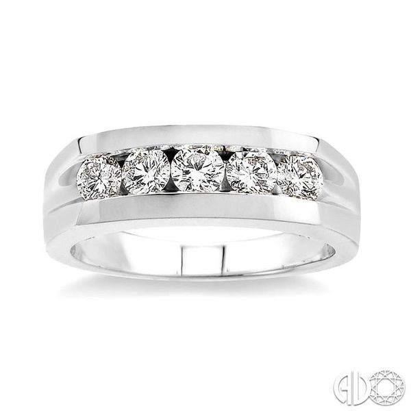 1 Ctw Round Cut Diamond Men's Ring in 14K White Gold Image 2 Coughlin Jewelers St. Clair, MI