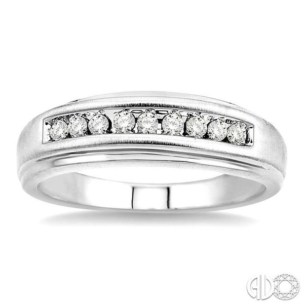 1/4 Ctw Round Cut Diamond Men's Duo Ring in 14K White Gold Image 2 Coughlin Jewelers St. Clair, MI