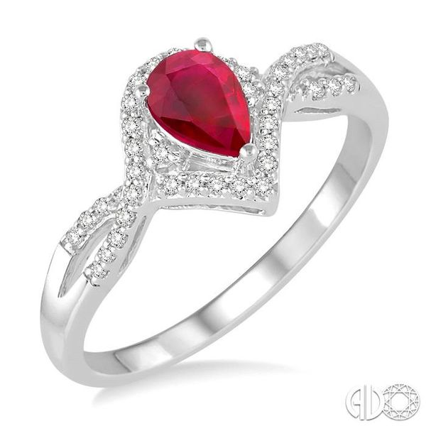 6x4 MM Ruby and 1/6 Ctw Round Cut Diamond Ring in 14K White Gold Coughlin Jewelers St. Clair, MI