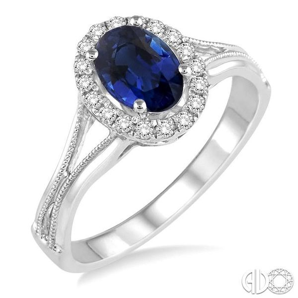 7x5 MM Oval Shape Sapphire and 1/6 Ctw Round Cut Diamond Ring in 14K White Gold Coughlin Jewelers St. Clair, MI