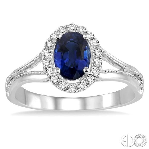 7x5 MM Oval Shape Sapphire and 1/6 Ctw Round Cut Diamond Ring in 14K White Gold Image 2 Coughlin Jewelers St. Clair, MI