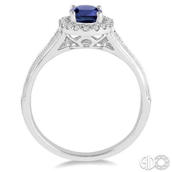 7x5 MM Oval Shape Sapphire and 1/6 Ctw Round Cut Diamond Ring in 14K White Gold Image 3 Coughlin Jewelers St. Clair, MI
