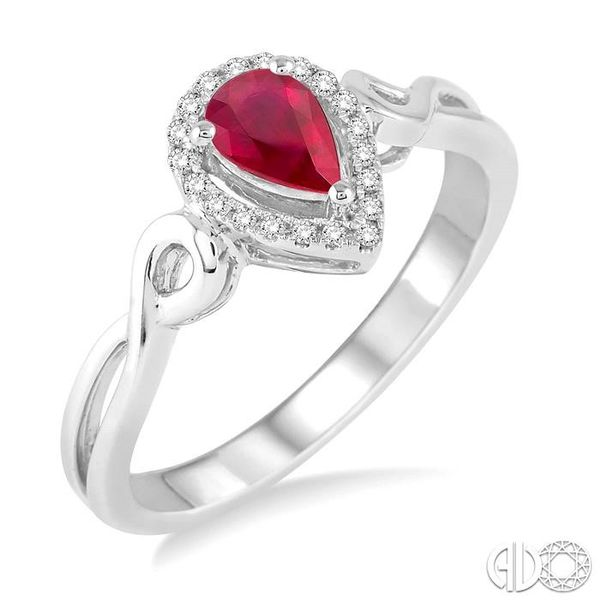 6x4 MM Pear Shape Ruby and 1/10 Ctw Round Cut Diamond Ring in 10K White Gold Coughlin Jewelers St. Clair, MI