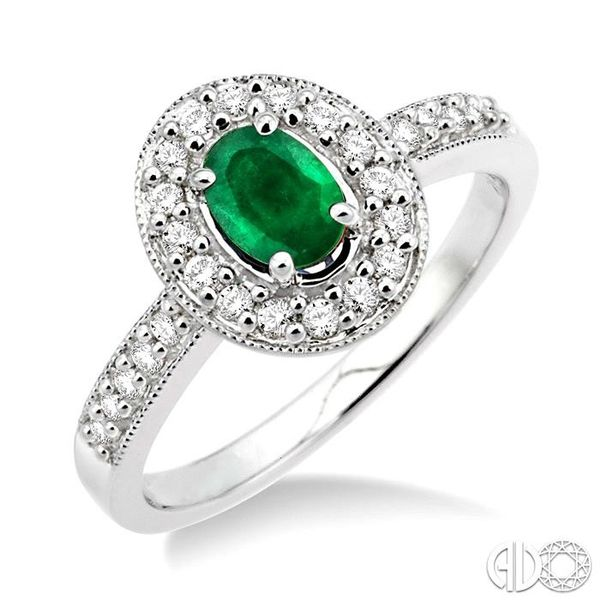 6x4mm Oval Cut Emerald and 1/4 Ctw Round Cut Diamond Ring in 14K White Gold Coughlin Jewelers St. Clair, MI