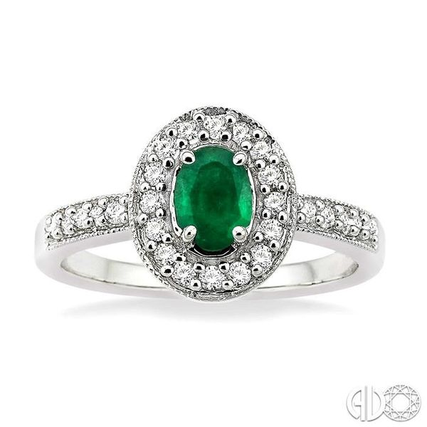 6x4mm Oval Cut Emerald and 1/4 Ctw Round Cut Diamond Ring in 14K White Gold Image 2 Coughlin Jewelers St. Clair, MI