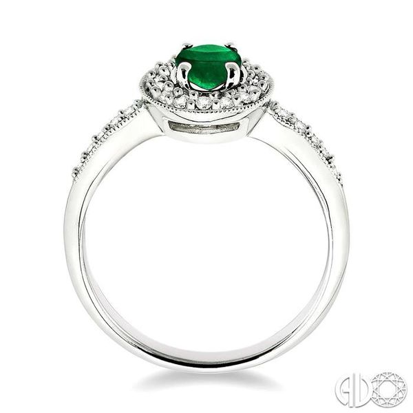 6x4mm Oval Cut Emerald and 1/4 Ctw Round Cut Diamond Ring in 14K White Gold Image 3 Coughlin Jewelers St. Clair, MI