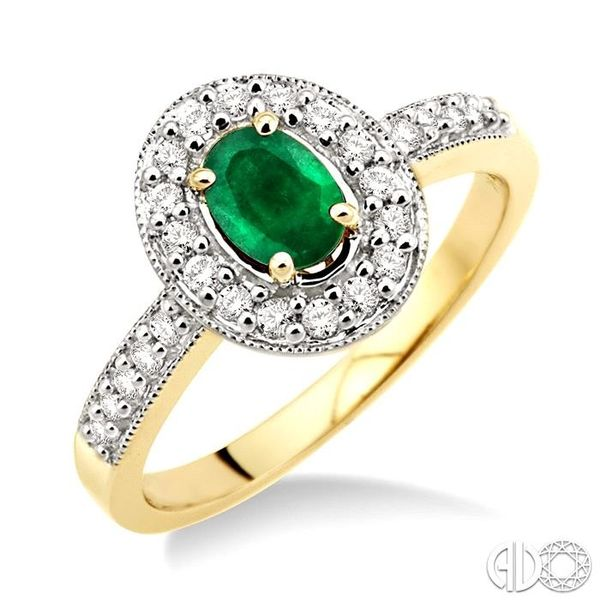 6x4mm Oval Cut Emerald and 1/4 Ctw Round Cut Diamond Ring in 14K Yellow Gold Coughlin Jewelers St. Clair, MI