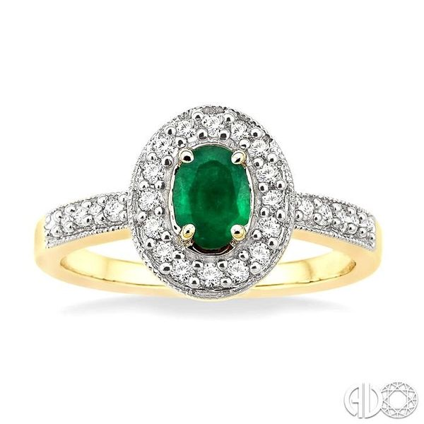 6x4mm Oval Cut Emerald and 1/4 Ctw Round Cut Diamond Ring in 14K Yellow Gold Image 2 Coughlin Jewelers St. Clair, MI