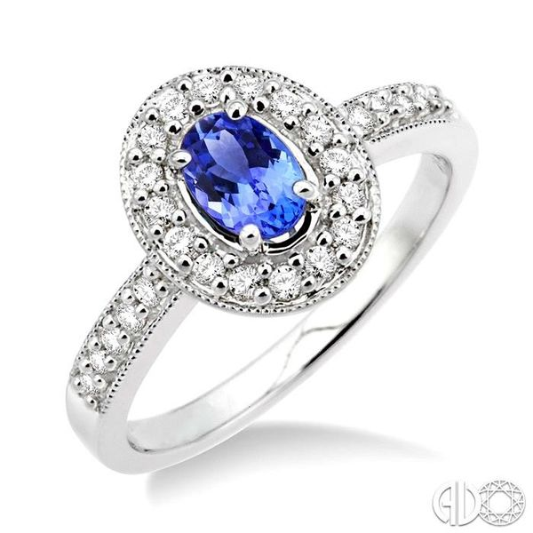 6x4mm Oval Cut Tanzanite and 1/4 Ctw Round Cut Diamond Ring in 14K White Gold Coughlin Jewelers St. Clair, MI