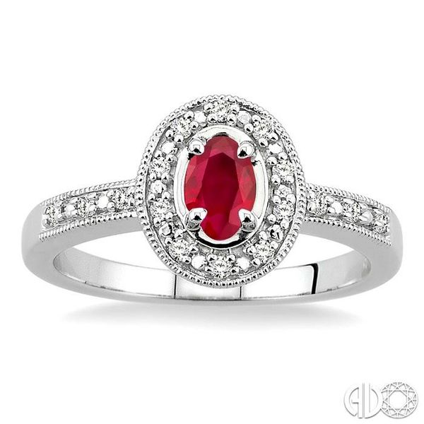 5x3mm oval cut Ruby and 1/10 Ctw Single Cut Diamond Ring in 14K White Gold. Image 2 Coughlin Jewelers St. Clair, MI