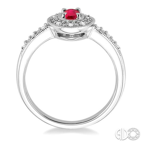5x3mm oval cut Ruby and 1/10 Ctw Single Cut Diamond Ring in 14K White Gold. Image 3 Coughlin Jewelers St. Clair, MI