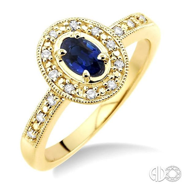 5x3mm oval cut Sapphire and 1/10 Ctw Single Cut Diamond Ring in 10K Yellow Gold. Coughlin Jewelers St. Clair, MI