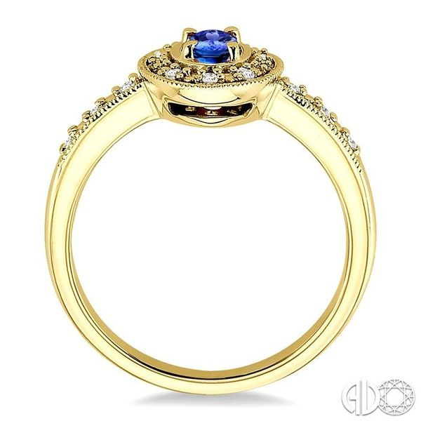 5x3mm oval cut Sapphire and 1/10 Ctw Single Cut Diamond Ring in 10K Yellow Gold. Image 3 Coughlin Jewelers St. Clair, MI