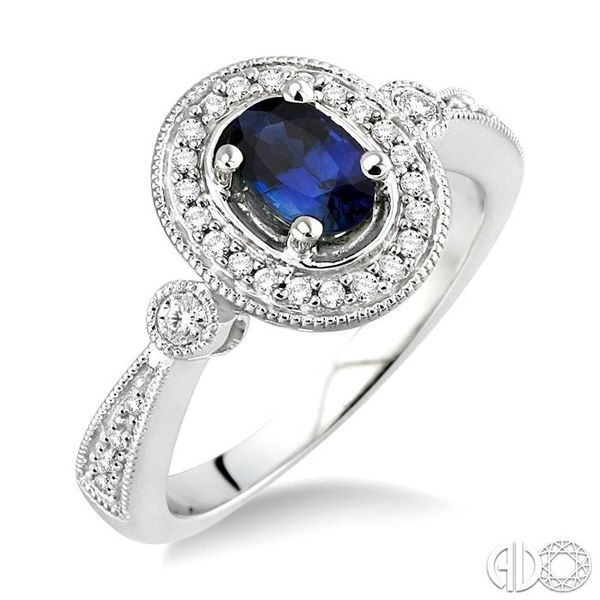 6x4mm Oval Cut Sapphire and 1/5 Ctw Round Cut Diamond Ring in 14K White Gold Coughlin Jewelers St. Clair, MI