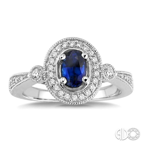 6x4mm Oval Cut Sapphire and 1/5 Ctw Round Cut Diamond Ring in 14K White Gold Image 2 Coughlin Jewelers St. Clair, MI