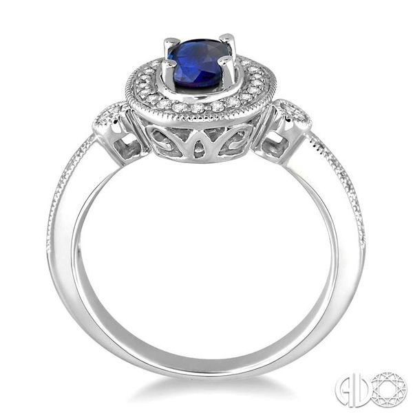 6x4mm Oval Cut Sapphire and 1/5 Ctw Round Cut Diamond Ring in 14K White Gold Image 3 Coughlin Jewelers St. Clair, MI