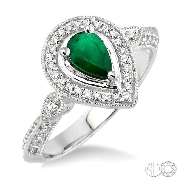 6x4mm Pear Shape Emerald and 1/6 Ctw Round Cut Diamond Ring in 14K White Gold Coughlin Jewelers St. Clair, MI