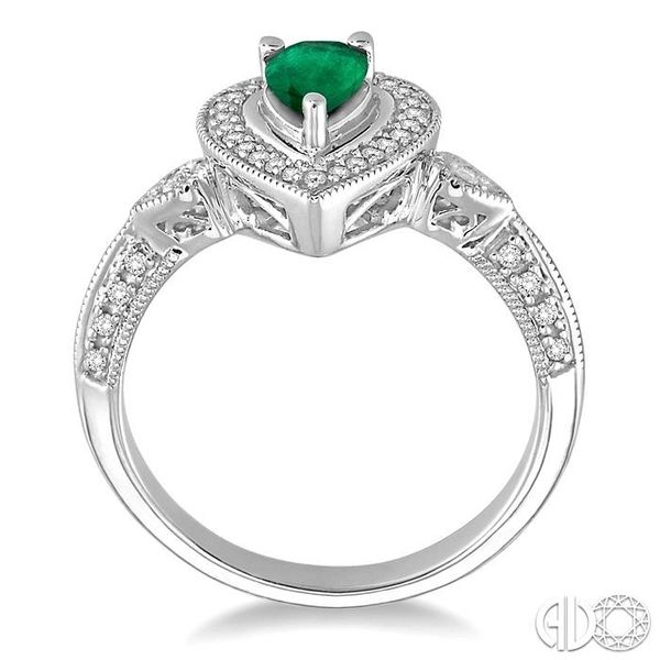 6x4mm Pear Shape Emerald and 1/6 Ctw Round Cut Diamond Ring in 14K White Gold Image 3 Coughlin Jewelers St. Clair, MI