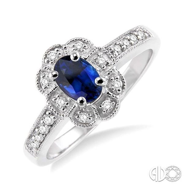 6x4mm Oval Cut Sapphire and 1/6 Ctw Single Cut Diamond Ring in 10K White Gold Coughlin Jewelers St. Clair, MI