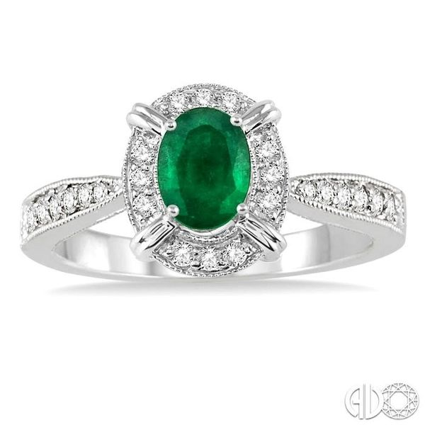 6x4 MM Oval Shape Emerald and 1/6 Ctw Single Cut Diamond Ring in 14K White Gold Image 2 Coughlin Jewelers St. Clair, MI