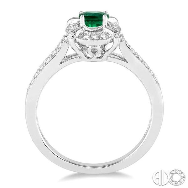 6x4 MM Oval Shape Emerald and 1/6 Ctw Single Cut Diamond Ring in 14K White Gold Image 3 Coughlin Jewelers St. Clair, MI
