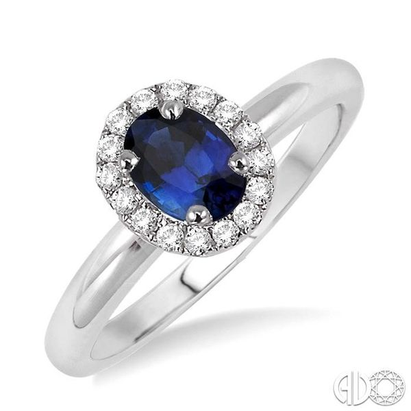 6x4 MM Oval Shape Sapphire and 1/6 Ctw Round Cut Diamond Ring in 14K White Gold Coughlin Jewelers St. Clair, MI