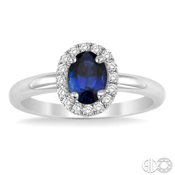 6x4 MM Oval Shape Sapphire and 1/6 Ctw Round Cut Diamond Ring in 14K White Gold Image 2 Coughlin Jewelers St. Clair, MI