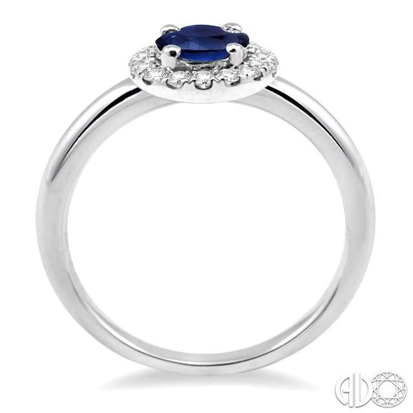 6x4 MM Oval Shape Sapphire and 1/6 Ctw Round Cut Diamond Ring in 14K White Gold Image 3 Coughlin Jewelers St. Clair, MI