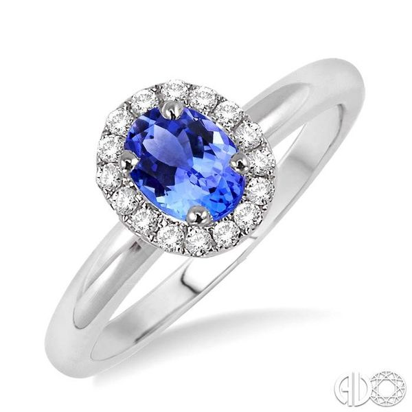6x4 MM Oval Shape Tanzanite and 1/6 Ctw Round Cut Diamond Ring in 14K White Gold Coughlin Jewelers St. Clair, MI