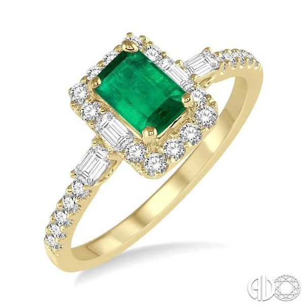 6x4 MM Octagon Cut Emerald and 1/2 Ctw Round Cut Diamond Ring in 14K Yellow Gold Coughlin Jewelers St. Clair, MI