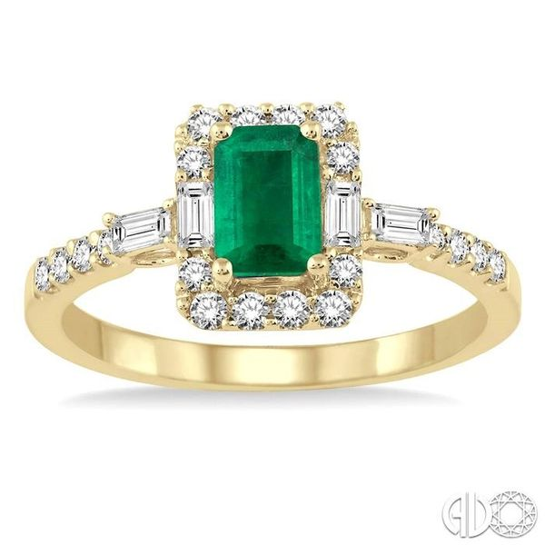 6x4 MM Octagon Cut Emerald and 1/2 Ctw Round Cut Diamond Ring in 14K Yellow Gold Image 2 Coughlin Jewelers St. Clair, MI