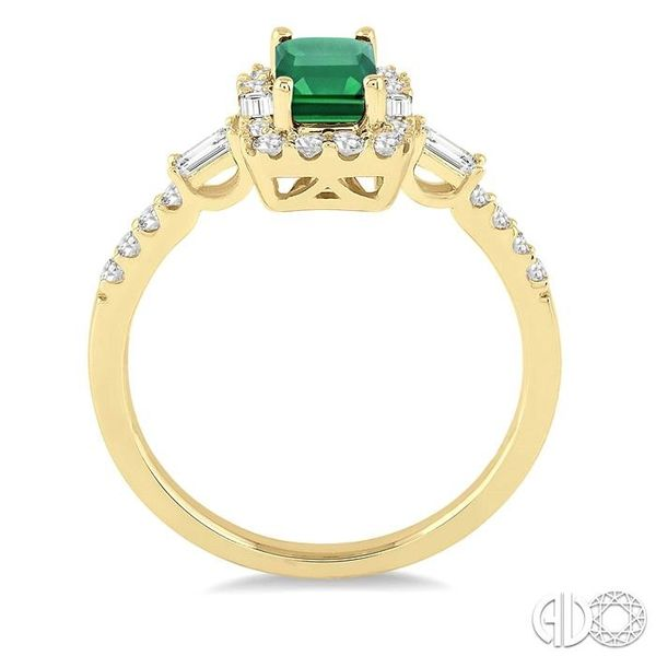 6x4 MM Octagon Cut Emerald and 1/2 Ctw Round Cut Diamond Ring in 14K Yellow Gold Image 3 Coughlin Jewelers St. Clair, MI