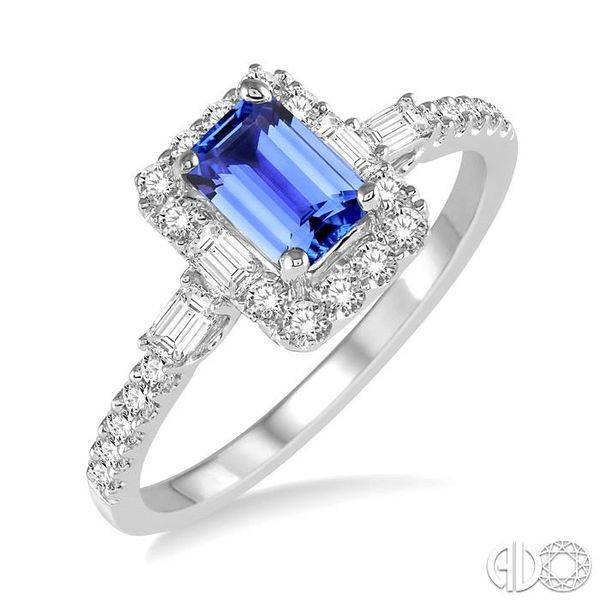 6x4 MM Octagon Cut Tanzanite and 1/2 Ctw Round Cut Diamond Ring in 14K White Gold Coughlin Jewelers St. Clair, MI