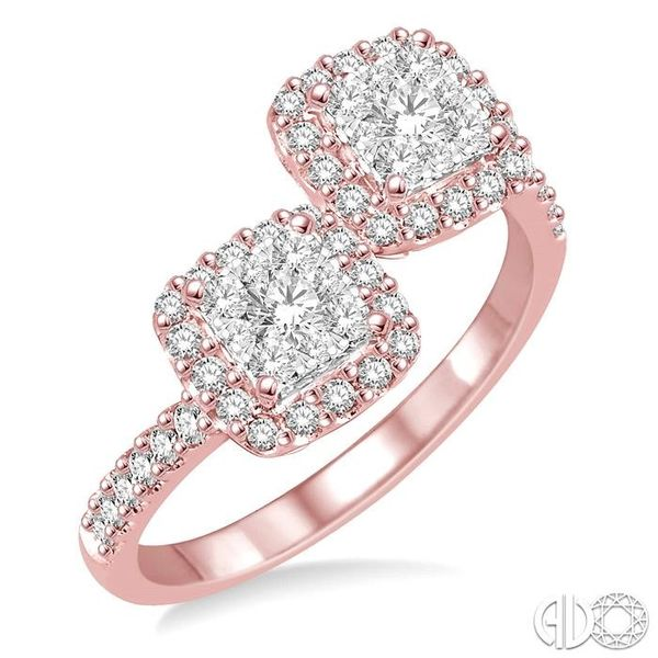 5/8 Ctw Conjoined Cushion Mount Round Cut Diamond Lovebright 2Stone Ring in 14K Rose and White Gold Coughlin Jewelers St. Clair, MI