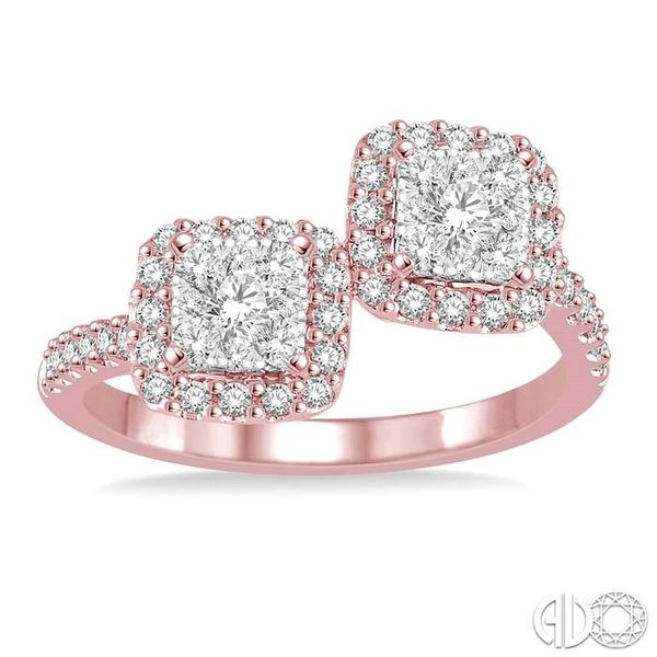 5/8 Ctw Conjoined Cushion Mount Round Cut Diamond Lovebright 2Stone Ring in 14K Rose and White Gold Image 2 Coughlin Jewelers St. Clair, MI