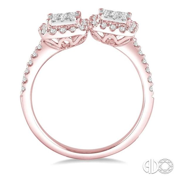 5/8 Ctw Conjoined Cushion Mount Round Cut Diamond Lovebright 2Stone Ring in 14K Rose and White Gold Image 3 Coughlin Jewelers St. Clair, MI