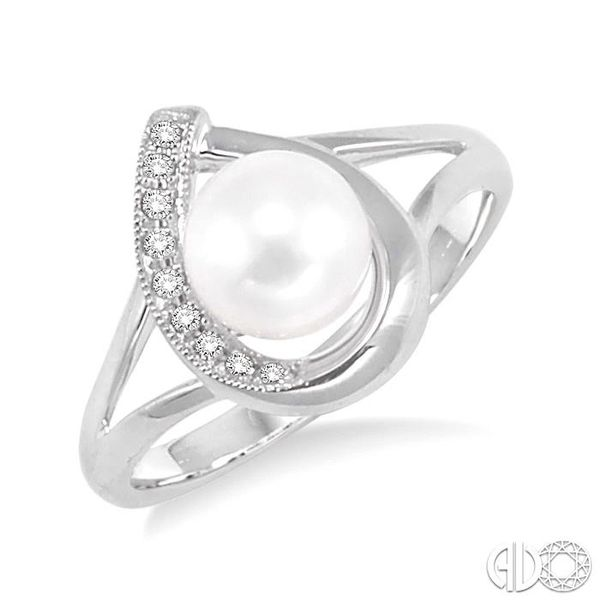 6.5MM Cultured Pearl and 1/20 Ctw Round Cut Diamond Ring in 10K White Gold Coughlin Jewelers St. Clair, MI
