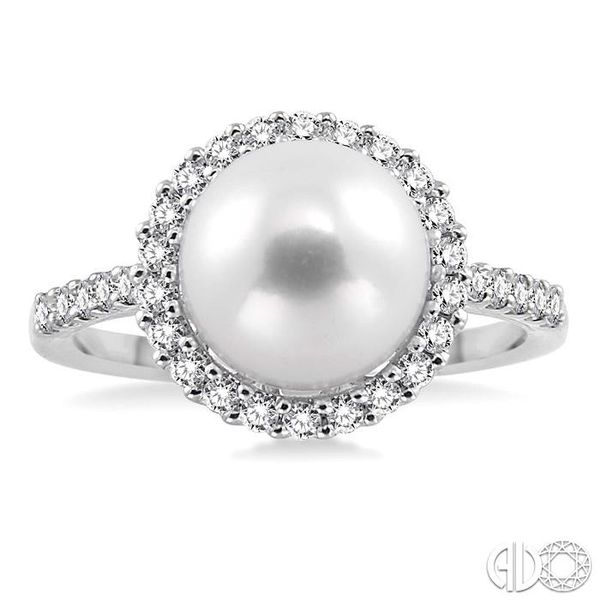 9x9mm Cultured Pearl and 3/8 Ctw Round Cut Diamond Ring in 14K White Gold Image 2 Coughlin Jewelers St. Clair, MI