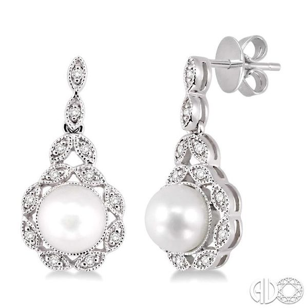 6x6mm Cultured Pearl and 1/8 Ctw Single Cut Diamond Earrings in 14K White Gold Coughlin Jewelers St. Clair, MI