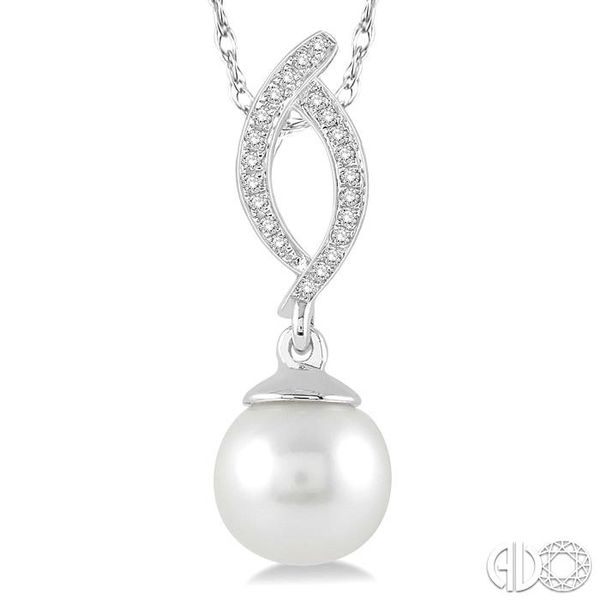 7x7 MM Round Cut Cultured Pearl and 1/20 Ctw Round Cut Diamond Pendant in 10K White Gold with Chain Image 3 Coughlin Jewelers St. Clair, MI